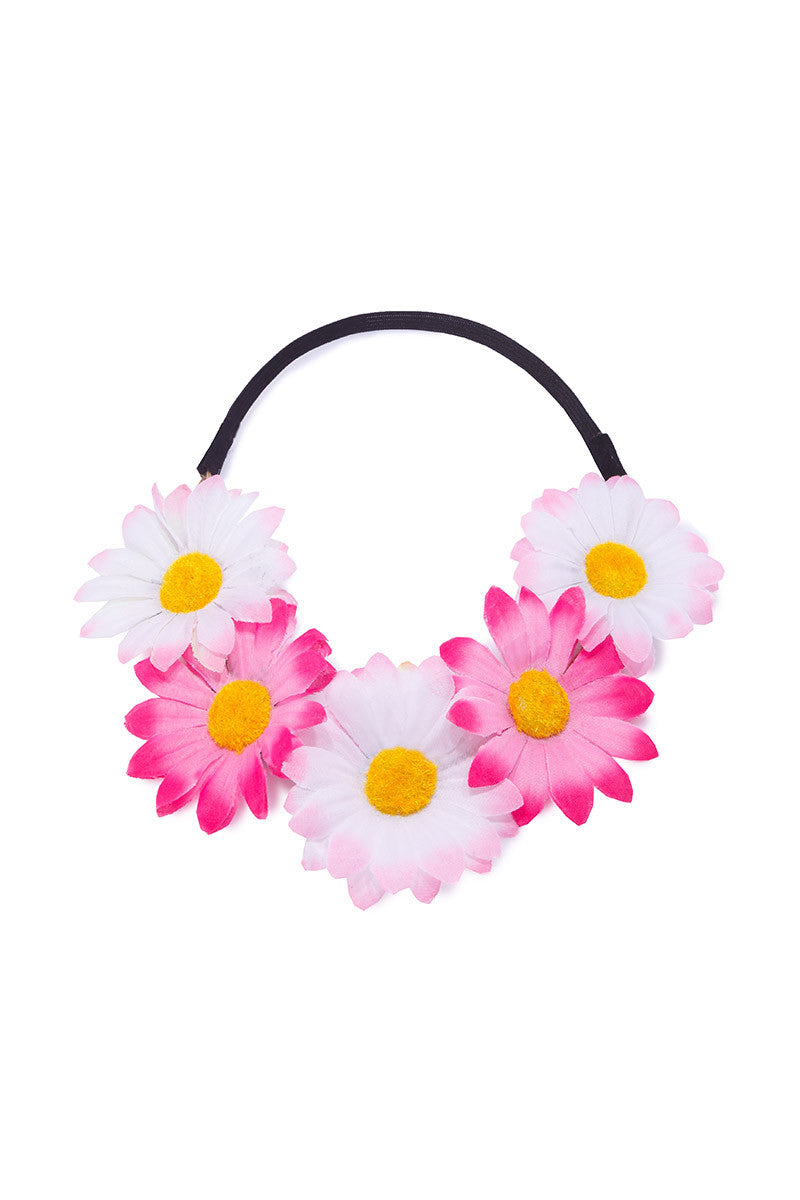 BIKINI.COM Light Pink & Hot Pink Daisy Floral Crown Hair Accessories | Light Pink / Hot Pink|