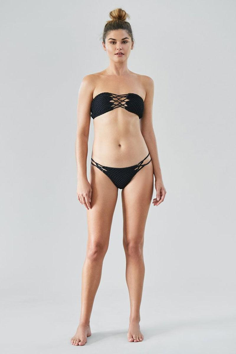 7d1f916171f82 ACACIA Como Crochet Lace Up Bandeau Bikini Top - Black Beauty Bikini Top