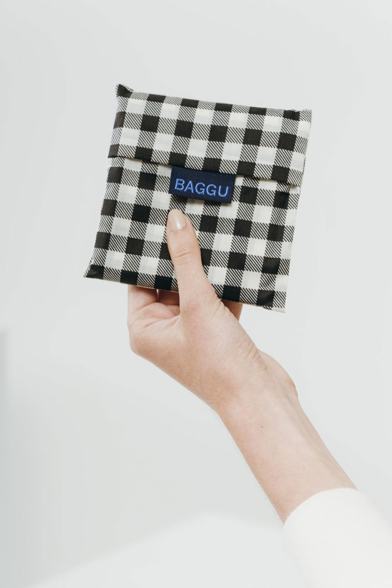 BAGGU Black Gingham Market Bag - Black Bag | Black|Black Gingham Bag - Features: Carry in your hand or over your shoulder Holds 2-3 plastic grocery bags worth of stuff Folds into a flat 5 in. x 5 in. pouch Holds 50 lbs 100% ripstop nylon Machine washable