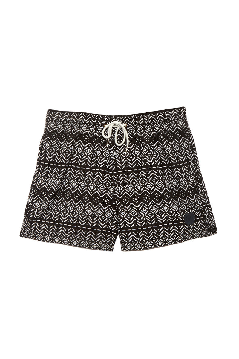 BIKINI.COM Aztec Print Mid Length Swim Trunks (Men's) Promo | Black| Bikini.com Aztec Print Swim Shorts