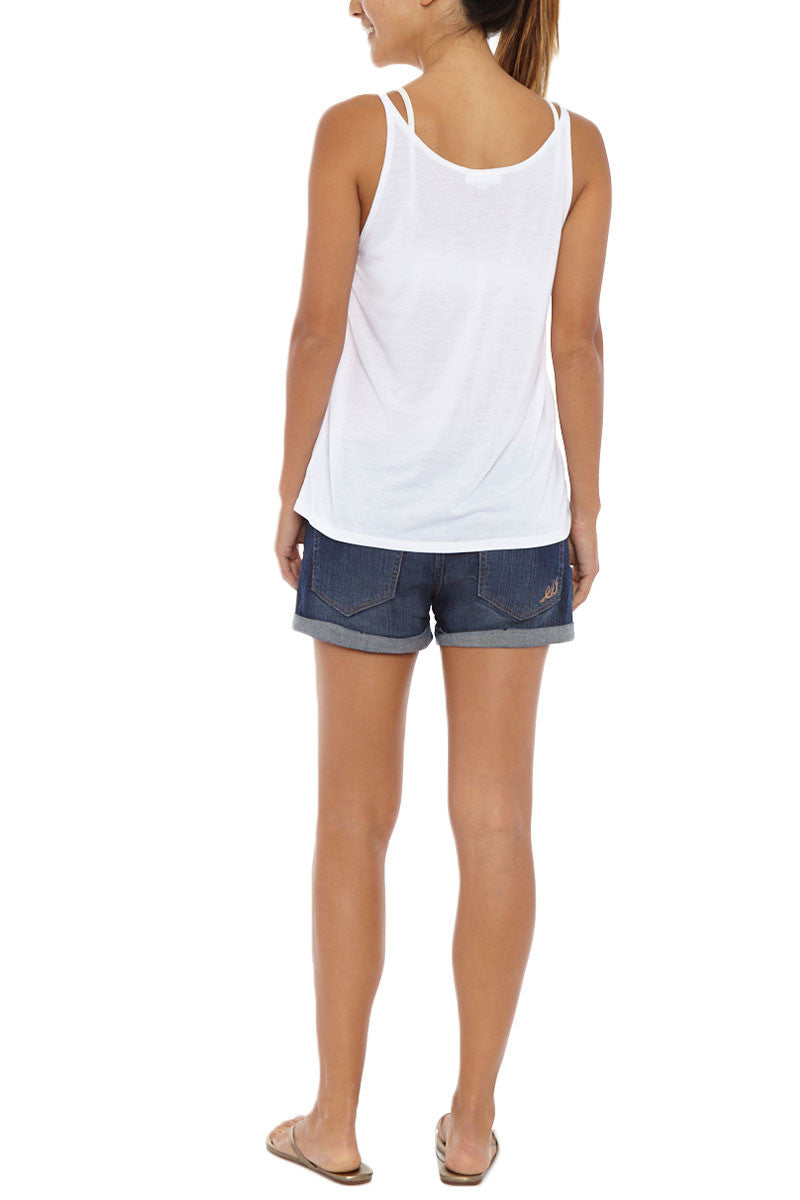 BLAINE BOWEN Sassy Wink Tank - White Top   White  Blaine Bowen Sassy Wink Tank - White  White tank top with modern wink face graphic.  Playful wink graphic with pink lips and black lashes is sweet and flirty. Back View
