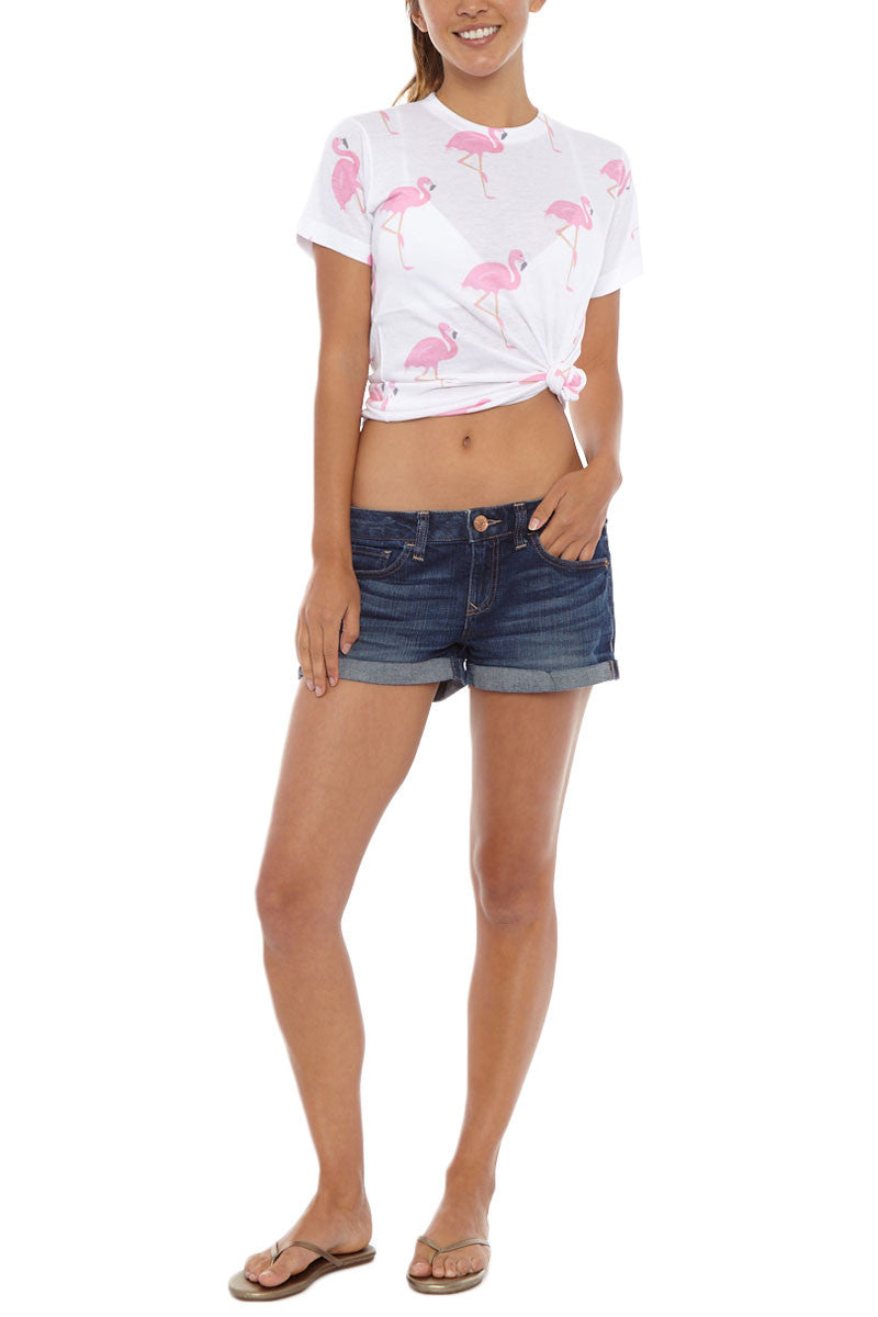 BLAINE BOWEN Flamingo Short Sleeve T-Shirt - Pink & White Top | Pink & White| Blaine Bowen Flamingo Short Sleeve T-Shirt - Pink & White All-over pink flamingo print t-shirt in white.  Lightweight soft t-shirt fabric in white with an all-over light pink flamingo print so you can be sure to bring the tropical vibes wherever you go Front View