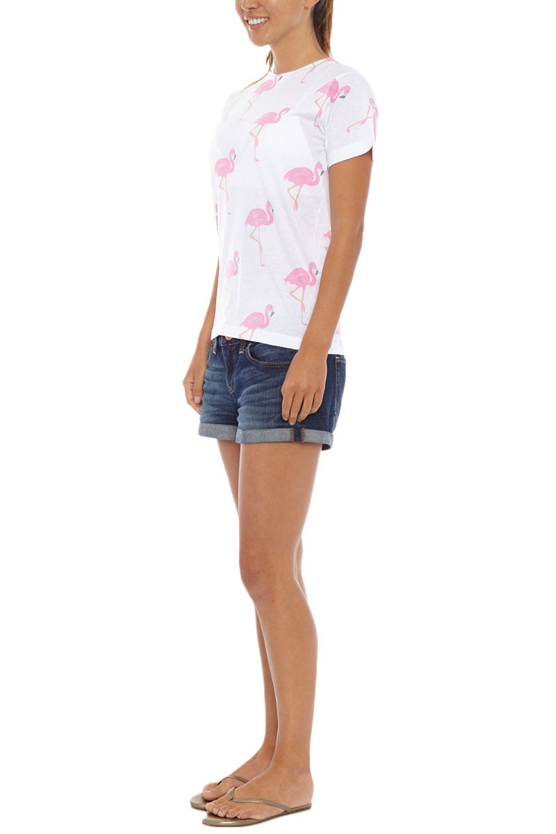 BLAINE BOWEN Flamingo Short Sleeve T-Shirt - Pink & White Top | Pink & White| Blaine Bowen Flamingo Short Sleeve T-Shirt - Pink & White All-over pink flamingo print t-shirt in white.  Lightweight soft t-shirt fabric in white with an all-over light pink flamingo print so you can be sure to bring the tropical vibes wherever you go Side View