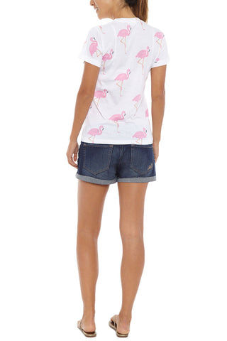 BLAINE BOWEN Flamingo Short Sleeve T-Shirt - Pink & White Top | Pink & White| Blaine Bowen Flamingo Short Sleeve T-Shirt - Pink & White All-over pink flamingo print t-shirt in white.  Lightweight soft t-shirt fabric in white with an all-over light pink flamingo print so you can be sure to bring the tropical vibes wherever you go Back View