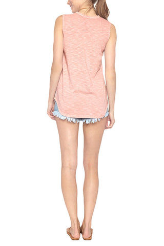 "BLAINE BOWEN Peace Out Tank - Blush Pink Top | Blush Pink| Blaine Bowen Peace Out Tank - Blush Pink ""Peace Out"" blush pink tank top. Light heather pink tank with contrasting white graphic is sure to make waves wherever you go. Back View"