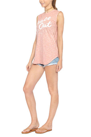 "BLAINE BOWEN Peace Out Tank - Blush Pink Top | Blush Pink| Blaine Bowen Peace Out Tank - Blush Pink ""Peace Out"" blush pink tank top. Light heather pink tank with contrasting white graphic is sure to make waves wherever you go. Front View"