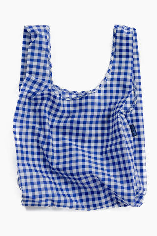 BAGGU Blue Gingham Market Bag - Blue Bag | Blue|Blue Gingham Bag - Features: Carry in your hand or over your shoulder Holds 2-3 plastic grocery bags worth of stuff Folds into a flat 5 in. x 5 in. pouch Holds 50 lbs 100% ripstop nylon Machine washable