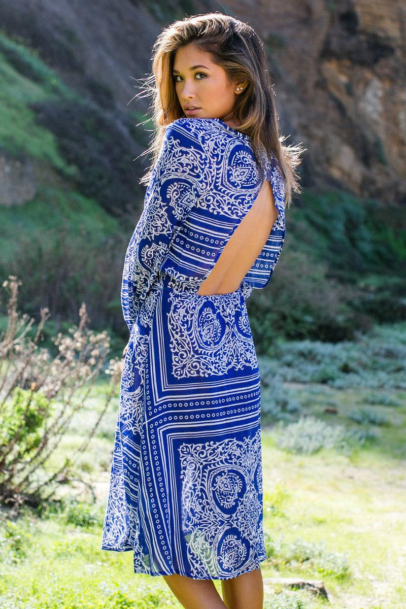 BLUE LIFE Caribbean Night Dress Dress | Indigo Scarf Print|