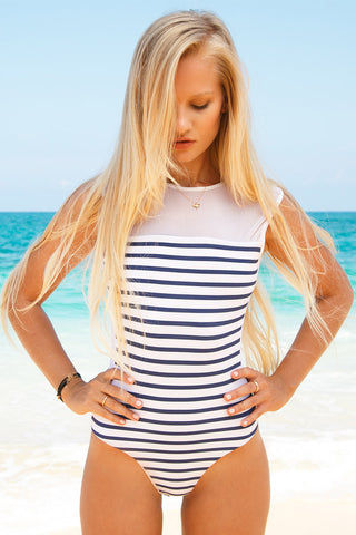 BLUE LIFE Portofino One Piece Swimsuit - Stripes One Piece | Stripes| Blue Life Portofino One Piece-Features:  Mesh panel Scrunch butt Plunging back Made in USA 87% Nylon, 13% Spandex