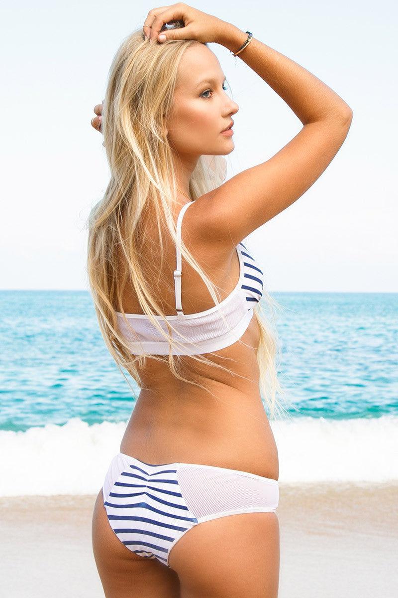 BLUE LIFE Portofino Mesh Cheeky Bikini Bottom - Blue & White Stripes Print Bikini Bottom | Blue & White Stripes Print| Blue Life Portofino Mesh Cheeky Bikini Bottom - Blue & White Stripes Print Mesh detail Cheeky  Made in USA 87% Nylon, 13% Spandex Back View