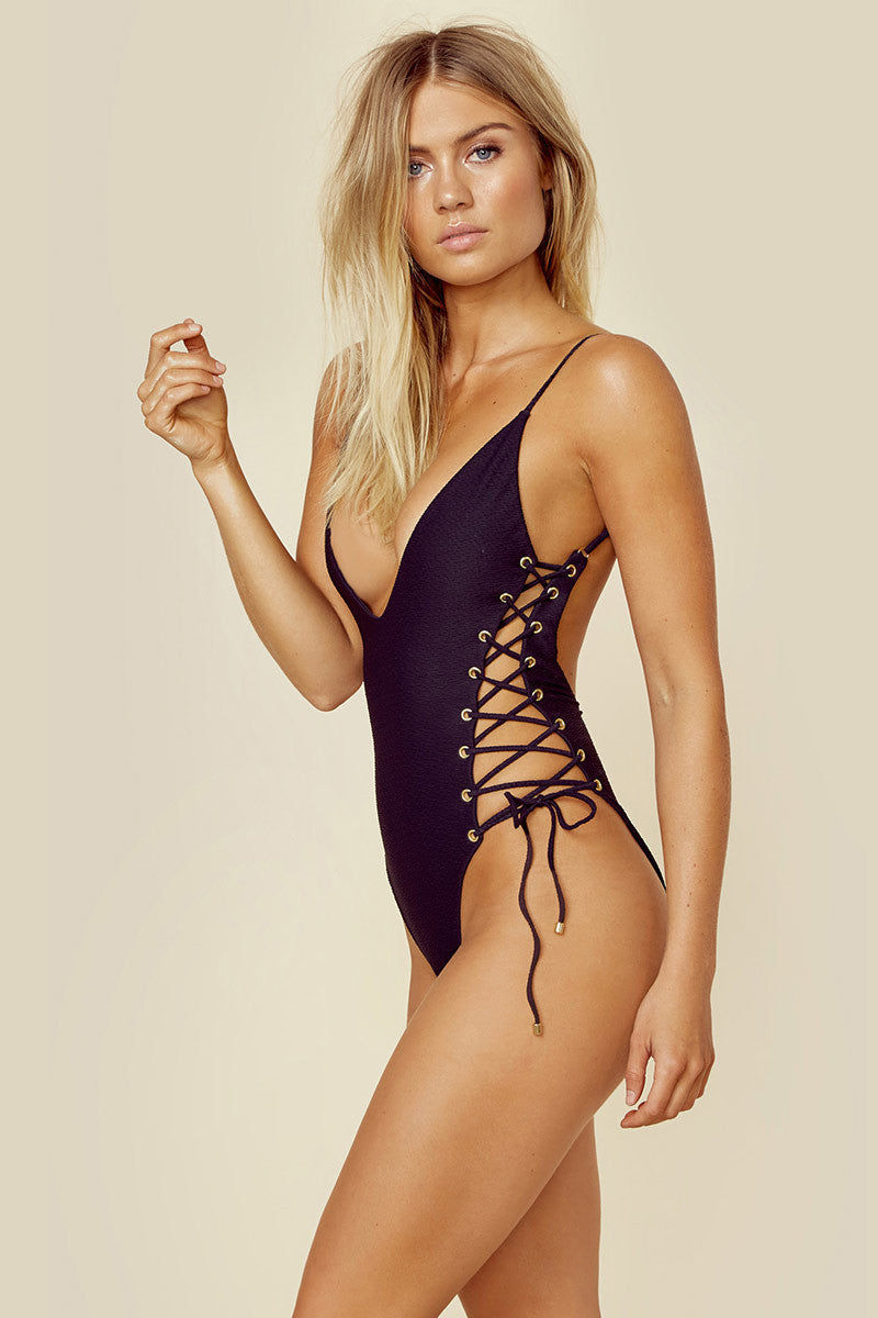 BLUE LIFE Roped Up One Piece Swimsuit - Black One Piece | Black| Blue Life Roped One Piece Black deep plunge neckline one piece with adjustable spaghetti straps and lace up sides. Cheeky coverage and low scoop back.