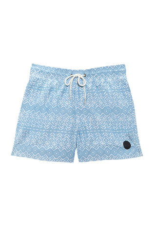 BIKINI.COM Aztec Print Mid Length Swim Trunks (Men's) Promo | Blue| Bikini.com Aztec Print Swim Shorts
