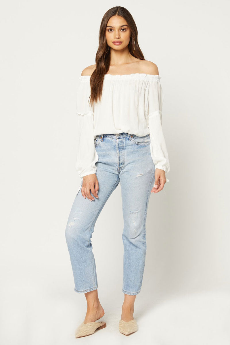 FLYNN SKYE Bobby Off Shoulder Blouse - White Top | White| Flynn Skye Bobby Off Shoulder Blouse - White Off shoulder top Long sleeves Ruffle detail Dry clean Front View