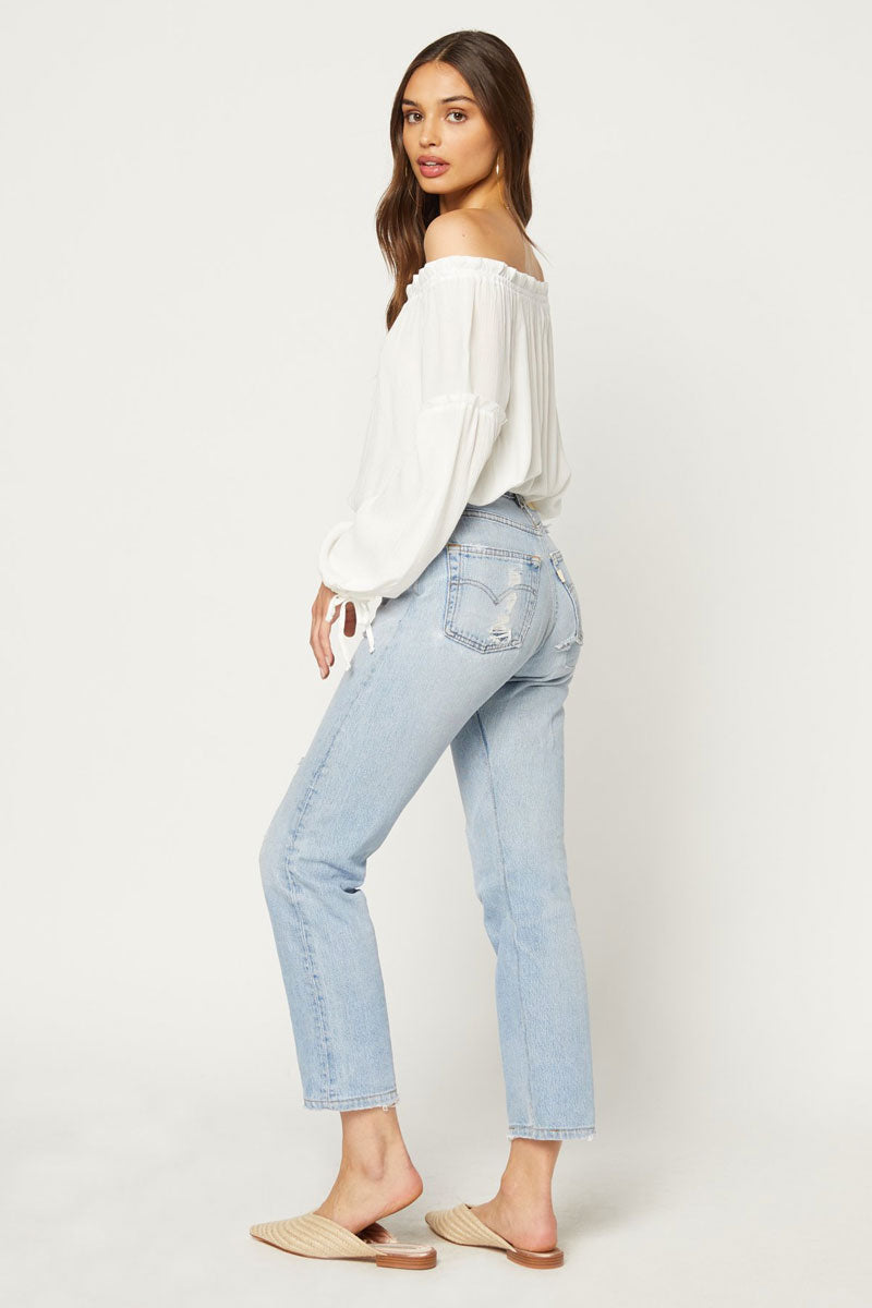 FLYNN SKYE Bobby Off Shoulder Blouse - White Top | White| Flynn Skye Bobby Off Shoulder Blouse - White Off shoulder top Long sleeves Ruffle detail Dry clean Side View