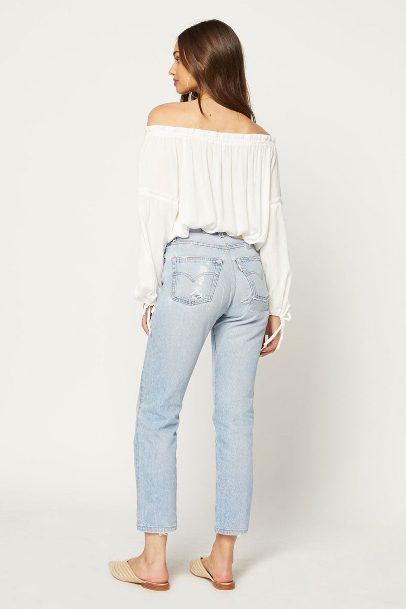 FLYNN SKYE Bobby Off Shoulder Blouse - White Top | White| Flynn Skye Bobby Off Shoulder Blouse - White Off shoulder top Long sleeves Ruffle detail Dry clean Back View