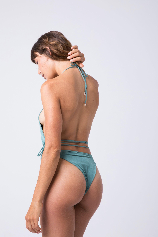 7677a320b1 ... INDAH Boca Halter Wrap One Piece Swimsuit - Pistachio Green One Piece | Pistachio  Green| ...