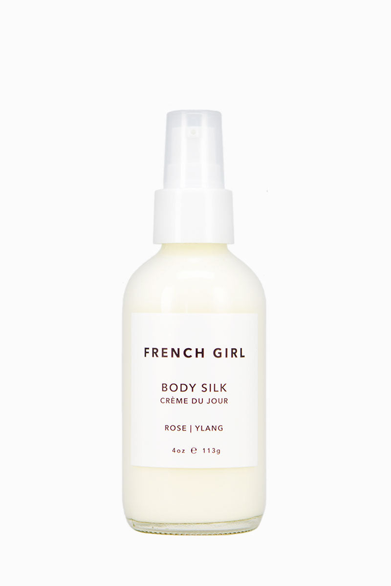 FRENCH GIRL ORGANICS Body Silk - Rose Ylang Beauty | Rose Ylang|French Girl Organics Body Silk - Jojoba and Coconut Oils - provide lightweight hydration. Rose Geranium and Frankincense Essential Oils - balance and tone skin. • Rooibos and Rosemary Extracts - provide antioxidant benefits. DMAE - protects skin from free-radical damage.