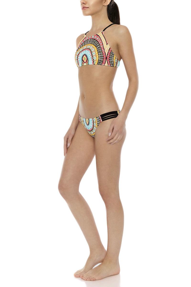 BODY GLOVE Surf Rider Strappy Side Full Bikini Bottom - Culture Abstract Print Bikini Bottom | Culture Abstract Print| Body Glove Surf Rider Strappy Side Full Bikini Bottom - Culture Abstract Print Full coverage Strappy side details 82% Nylon, 18% Spandex Side View