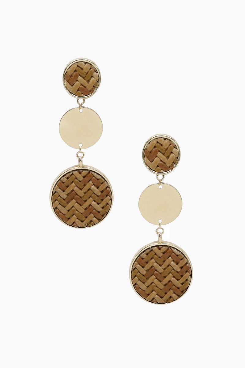 ETTIKA Boho Dreams Earrings - Tan & Gold Jewelry | Tan & Gold| Ettika Boho Dreams Earrings - Tan & Gold Full View Dangling 3 Circle Detail  18kt Gold Plated  Surgical Steel Posts  Nickel Free  Length: 3 inches