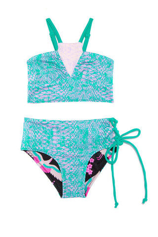 BOWIE JAMES Black Bo & Arrow - Kids Kids Bikini | Black| Bowie James Bo & Arrow Kids Bikini Reversible Bikini Set Adjustable Shoulder Straps Wide Bra Band Smocked Back Crisscross Lace-Up Detail at Hips Full Rear Coverage UPF 50+