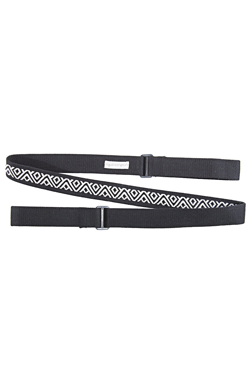 VAGABONDS GOODS Bowie Guitar Yoga Mat Strap Yoga Accessories | Bowie| Vagabond Goods Bowie Guitar Yoga Mat Strap Guitar Strap-Inspired Multi-Purpose Handwoven Yoga Mat Strap Black and White Geometric Print Nylon Backing Adjustable Slides Can be Used as Stretch Band