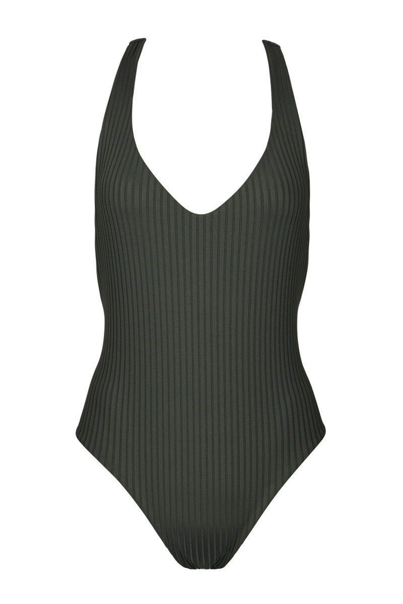 BOYS + ARROWS Bad News Beck Ribbed T Back One Piece Swimsuit - Iron Grey One Piece | Iron Grey | Boys And Arrows Bad News Beck Ribbed T Back One Piece Swimsuit - Iron Grey Plunging neckline  Sporty t-back for support  Cheeky coverage  Ribbed fabric  82% Nylon, 18% Elastane Front View