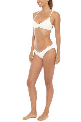 BOYS + ARROWS Kiki The Killer Cheeky Ruched Bikini Bottom - Blond White Bikini Bottom | Blond White| Boys + Arrows Kiki The Killer Cheeky Ruched Bikini Bottom - Blond White Back ruffle-edged and scrunch-butt Low rise  Cheeky coverage  Seamless 72% Polyamide, 28% Elastane  Front View