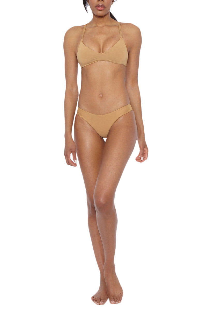 BOYS + ARROWS Dylan The Desperado Sporty Bralette Bikini Top - Earth Brown Bikini Top | Earth Brown| Boys And Arrows Dylan The Desperado Sporty Bralette Bikini Top - Earth Brown xAdjustable triple straps Ties at center back Seamless Pointelle fabric 72% Polyamide, 28% Elastane Includes snaps on interior to connect with the clever cover Front View