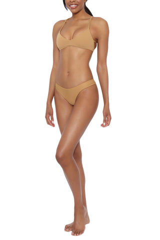 BOYS + ARROWS Joey The Juvy Moderate Low Rise Bikini Bottom - Earth Brown Bikini Bottom | Earth Brown| Boys And Arrows Joey The Juvy Moderate Low Rise Bikini Bottom - Earth Brown Moderate coverage  Low rise  Seamless  80% Poly, 20% Elastane Side View