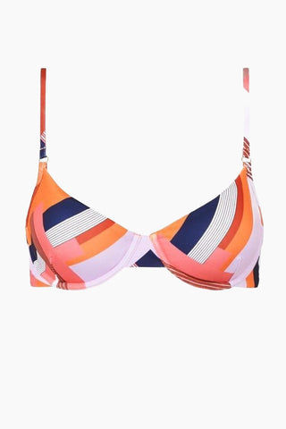 FELLA Brad Top - Scarf Print Bikini Top | Scarf Print | Front view of Fella Brad Top Bra Style Bikini Top in Scarf Print  Thin straps Underwire for extra support Back clasp This style is best suited to girls with a bust (B cup or bigger) Italian Lycra 80% PA 20% EA