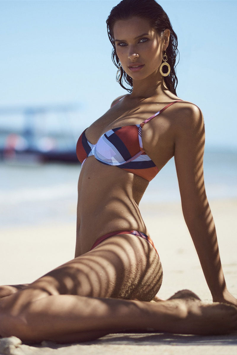 FELLA Brad Top - Scarf Print Bikini Top | Scarf Print | Model on Beach wearing Fella Brad Bikini Top in Scarf Print