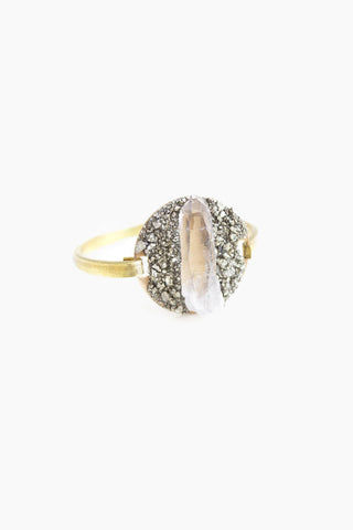 DEA DIA JEWELRY Brazilian Crystal Swing Cuff - Diamond Jewelry | | DEA DIA JEWELRY Brazilian Crystal Swing Cuff - Diamond Brass Cuff Bracelet  Hing Clasp  Hand-crushed  raw Peruvian Pyrite Chunks  Hand selected Quartz Crystal