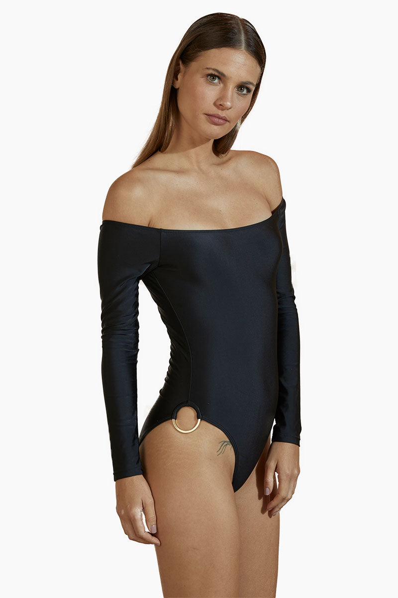 AGUA DE COCO Brazilian Off Shoulder Side Detail One Piece Swimsuit - Black One Piece |  Black| Agua De Coco Brazilian Off Shoulder Side Detail One Piece Swimsuit - Black Off shoulder one piece  Long sleeves  Side ring detail  Cheeky coverage Side View