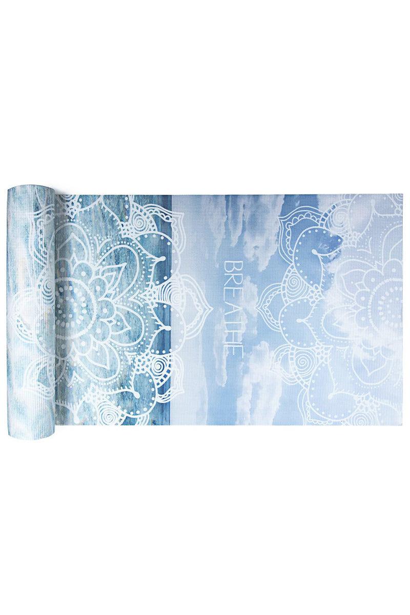 VAGABONDS GOODS Breathe Yoga Mat Yoga Mat | Breathe| Vagabond Goods Breathe Yoga Mat Non-Slip Extra-Thick Lightweight Yoga Mat Non-Toxic Solvent-Free UV-Cured Inks Pillow Texture Ocean Print With Mandala Symbols
