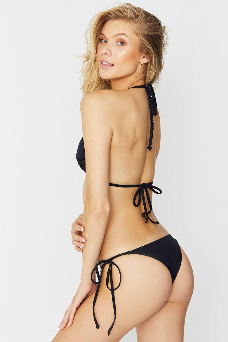 FRANKIES BIKINIS Brie Bikini Bottom - Black Bikini Bottom | Black|Brie Bikini Bottom - Features:  Black side string tie bikini bottom Brazilian cut Low rise Tie side
