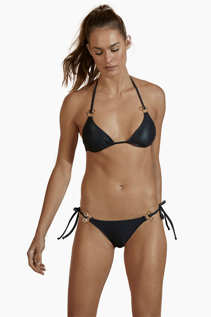 AGUA DE COCO Tie Side Metal Bikini Bottom - Black Bikini Bottom | Black| Agua De Coco Tie Side Metal Bikini Bottom - Black Tie side bikini bottom  Low rise Metal hardware Cheeky coverage Front View