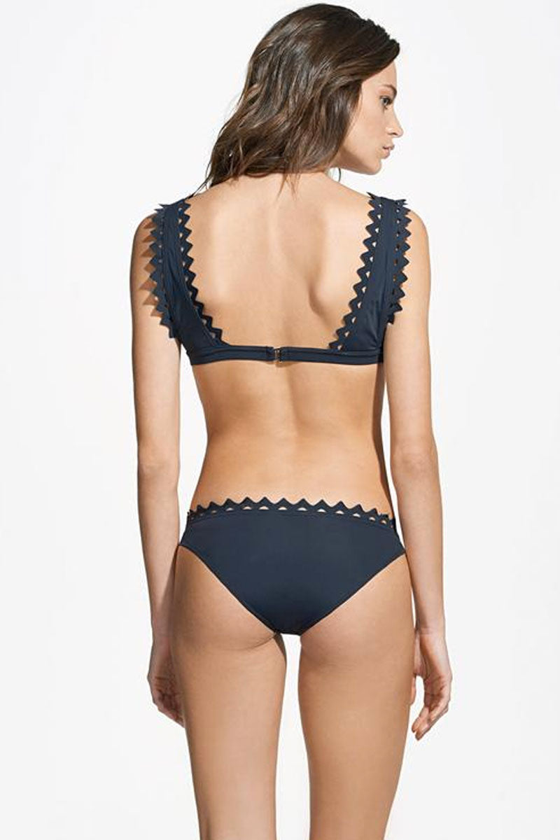 ROSA CHA Carly Scalloped Triangle Bikini Top - Black Bikini Top | Black| Rosa Cha Carly Scalloped Triangle Bikini Top - Black Deep V Neckline Fixed Triangle Top  Wide Shoulder Straps Scalloped Edges  Back Hook Closure Back View