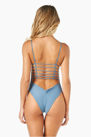 MONTCE SWIM Cage Strappy High Cut One Piece Swimsuit - Hampton Blue One Piece | Hampton Blue| Montce Swim Cage Strappy High Cut One Piece Swimsuit - Hampton Blue. Features: Plunging steel blue one piece. strappy front and back detail. Back View