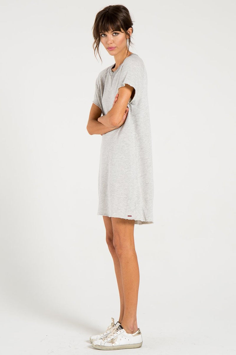 N:PHILANTHROPY Calalilly Mini Dress - Heather Grey Dress | Heather Grey| n:Philanthropy Calalilly Mini Dress - Heather Grey Mini Dress Scoop Neckline Short Sleeves Side View