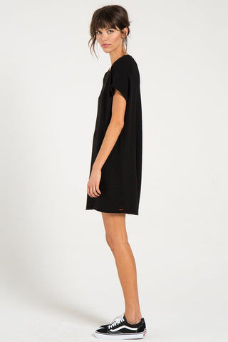 N:PHILANTHROPY Calalilly Mini Dress - Black Cat Dress | Black Cat| n:Philanthropy Calalilly Mini Dress - Black Cat  Mini Dress Scoop Neckline Short Sleeves Side View