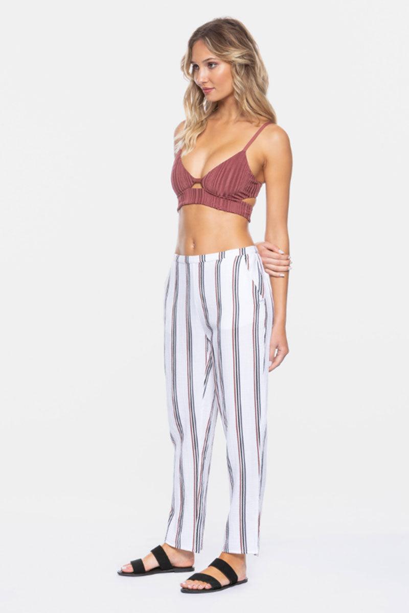 "TAVIK Calder Cropped Pants - White Stripe Print Pants | White Stripe Print| Tavik Calder Cropped Pants - White Stripe Print  Relaxed Fit Pants Cropped at Ankle Subtle Pleats Side Pockets  26.5"" Inseam 100% Cotton Designed in California Side View"