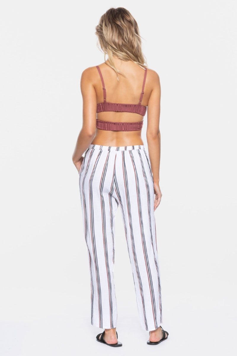 "TAVIK Calder Cropped Pants - White Stripe Print Pants | White Stripe Print| Tavik Calder Cropped Pants - White Stripe Print  Relaxed Fit Pants Cropped at Ankle Subtle Pleats Side Pockets  26.5"" Inseam 100% Cotton Designed in California Back View"