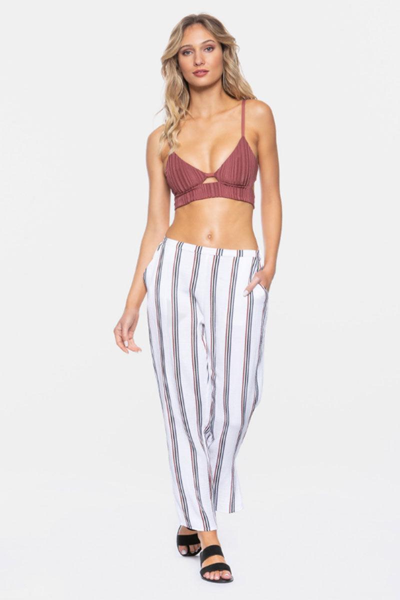 "TAVIK Calder Cropped Pants - White Stripe Print Pants | White Stripe Print| Tavik Calder Cropped Pants - White Stripe Print  Relaxed Fit Pants Cropped at Ankle Subtle Pleats Side Pockets  26.5"" Inseam 100% Cotton Designed in California Front View"