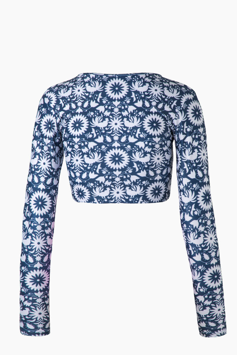 VERDELIMON Camaguey Long Sleeve Crop Bikini Top - Blue Otomi Print Bikini Top | Blue Otomi Print| Verdelimon Camaguey Long Sleeve Crop Bikini Top - Blue Otomi Print Scoop neckline  Long sleeves Crop style  Back View