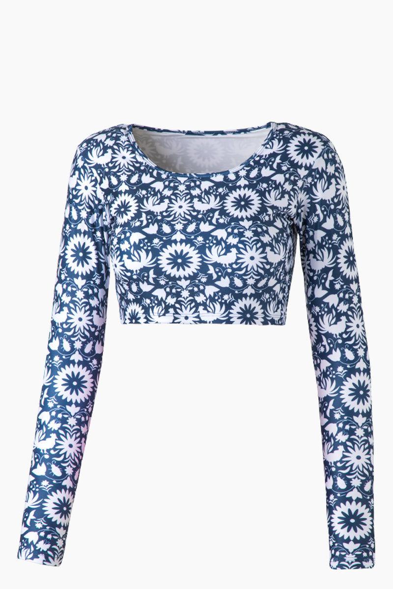 VERDELIMON Camaguey Long Sleeve Crop Bikini Top - Blue Otomi Print Bikini Top | Blue Otomi Print| Verdelimon Camaguey Long Sleeve Crop Bikini Top - Blue Otomi Print Scoop neckline  Long sleeves Crop style  Front View