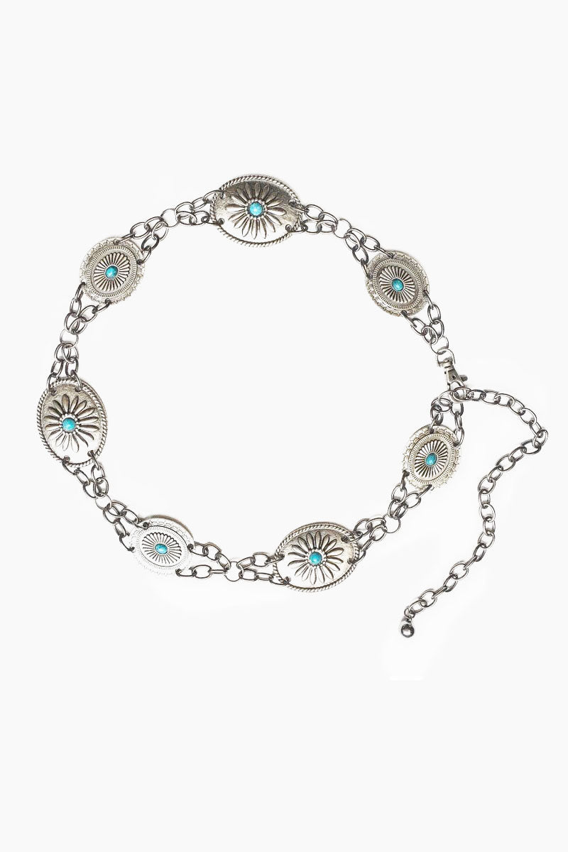LOVESTRENGTH Camilla Metal Belt - Nickel Accessories | Nickel | Love Strength Camilla Metal Belt - Nickel. Features:  Antique nickel conchos and chain Turquoise cabachon stones Import Front View