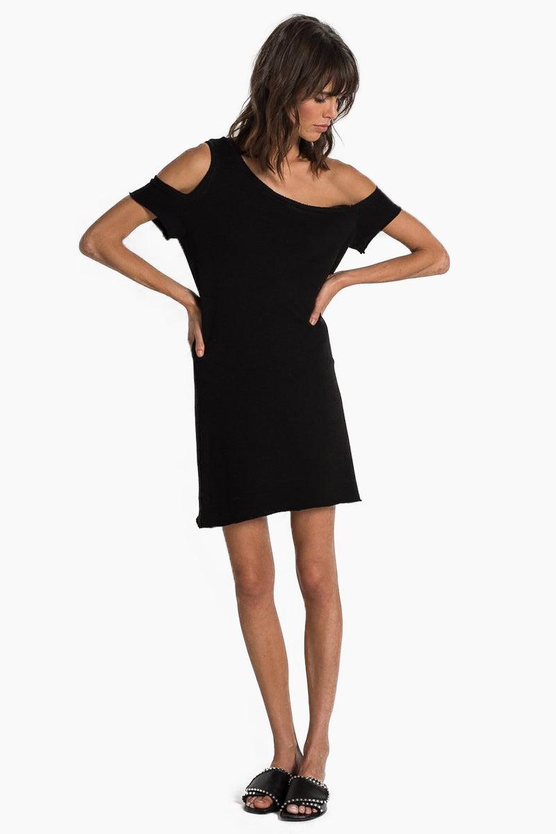 N:PHILANTHROPY Camino Dress - Black Cat Dress   Black Cat  n:Philanthropy Camino Dress - Black Cat Asymmetric mini dress Off shoulder detail  Raw edge sleeves and bottom hem Front View