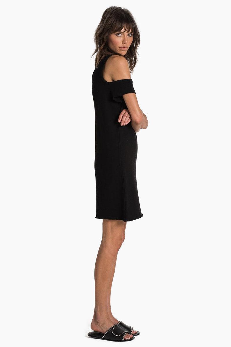 N:PHILANTHROPY Camino Dress - Black Cat Dress   Black Cat  n:Philanthropy Camino Dress - Black Cat Asymmetric mini dress Off shoulder detail  Raw edge sleeves and bottom hem Side View