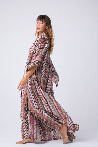 INDAH Campfire Tunic Maxi Dress - Festival Dress | Festival| Indah Campfire Tunic Maxi Dress - Festival Front View Maxi Dress  Lace Up Front Detail  Flowy Long Sleeves Side View