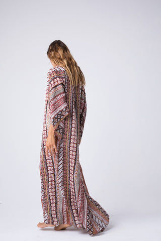 INDAH Campfire Tunic Maxi Dress - Festival Dress | Festival| Indah Campfire Tunic Maxi Dress - Festival Front View Maxi Dress  Lace Up Front Detail  Flowy Long Sleeves Back View